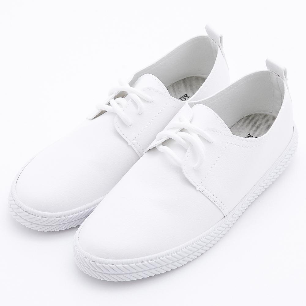 River&Moon台灣製簡單繫帶軟皮休閒鞋 白