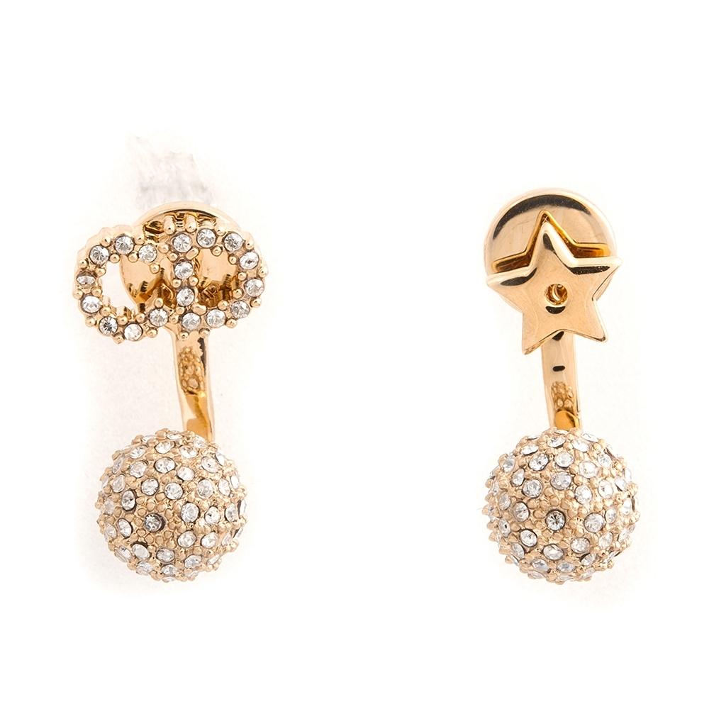 DIOR 新款「LA PETITE TRIBALE」CD水晶星星圖案鍍金金屬穿式耳環