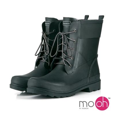 mo.oh 愛雨天-情侶款綁帶中筒防水雨鞋-黑色