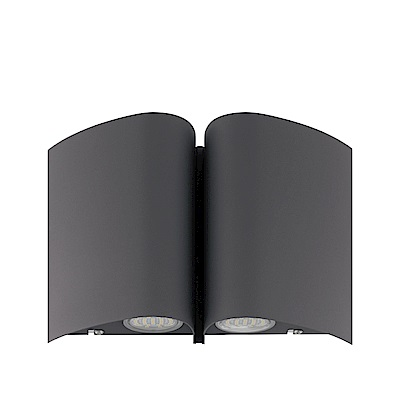EGLO歐風燈飾 現代黑雙燈式LED壁燈/門牌燈