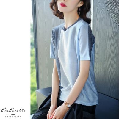 2F韓衣-韓系優雅撞色直條拼接造型上衣-2色(F)