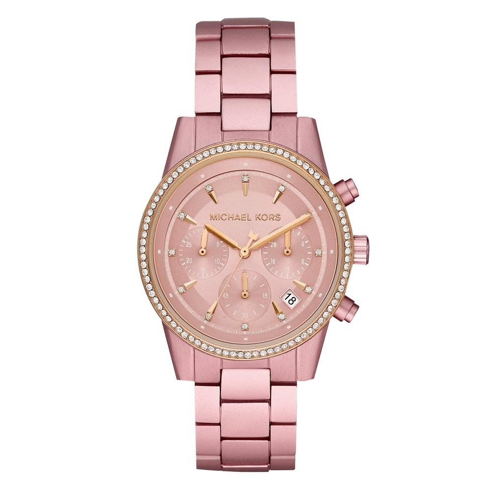 Michael Kors 粉紅時刻晶鑽三眼計時手錶(MK6753)/37mm