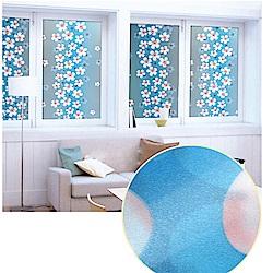 半島良品 無膠玻璃靜電貼-藍色丁香45x200cm