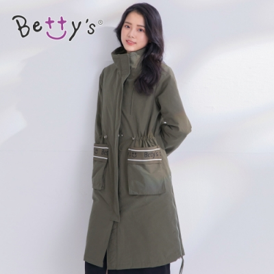 betty's貝蒂思 長版鋪棉LOGO立領大衣(軍綠)