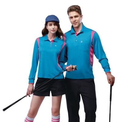 SPAR吸濕排汗男版長袖POLO衫SP69412亮藍色