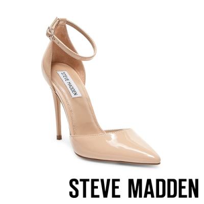 STEVE MADDEN-MIKAELA知性美學素面側空繫帶尖頭高跟鞋-鏡粉色