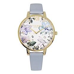 Olivia Burton 英倫復古手錶 寶石花卉  粉藍色真皮錶帶金框38mm