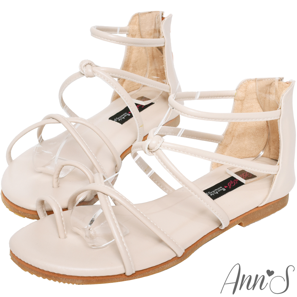 Ann'S好看的減壓柔軟羅馬平底涼鞋-米