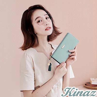 KINAZ 甜蜜驚喜L型拉鍊長夾-糖霜藍-甜心磚系列