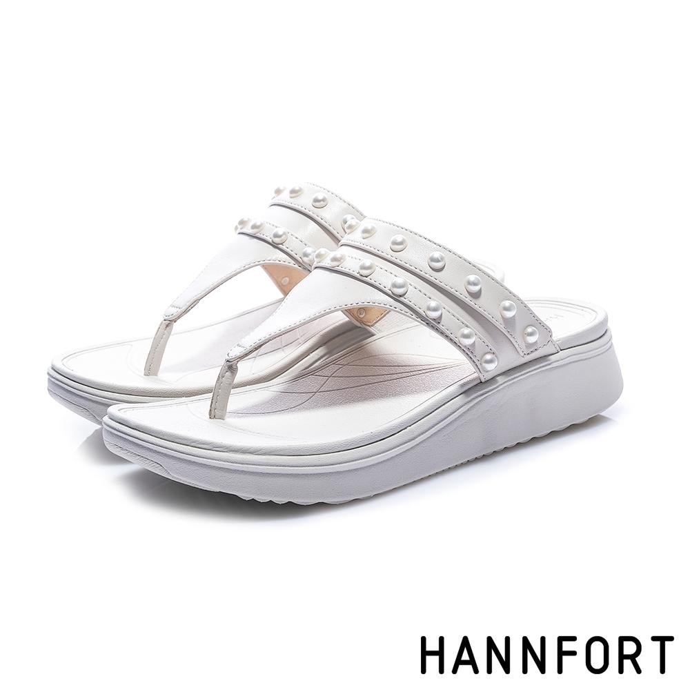 HANNFORT Ultra Comf 4D 珍珠羊皮厚底拖鞋-女-白