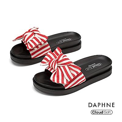達芙妮DAPHNE 涼鞋-幾何條紋蝴蝶結造型舒軟休閒拖鞋-紅色