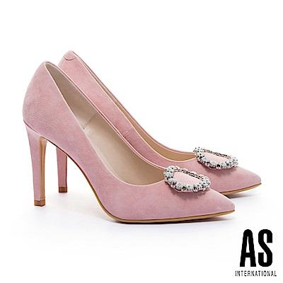 高跟鞋 AS 奢華白鑽圓釦羊麂皮美型尖頭高跟鞋-粉