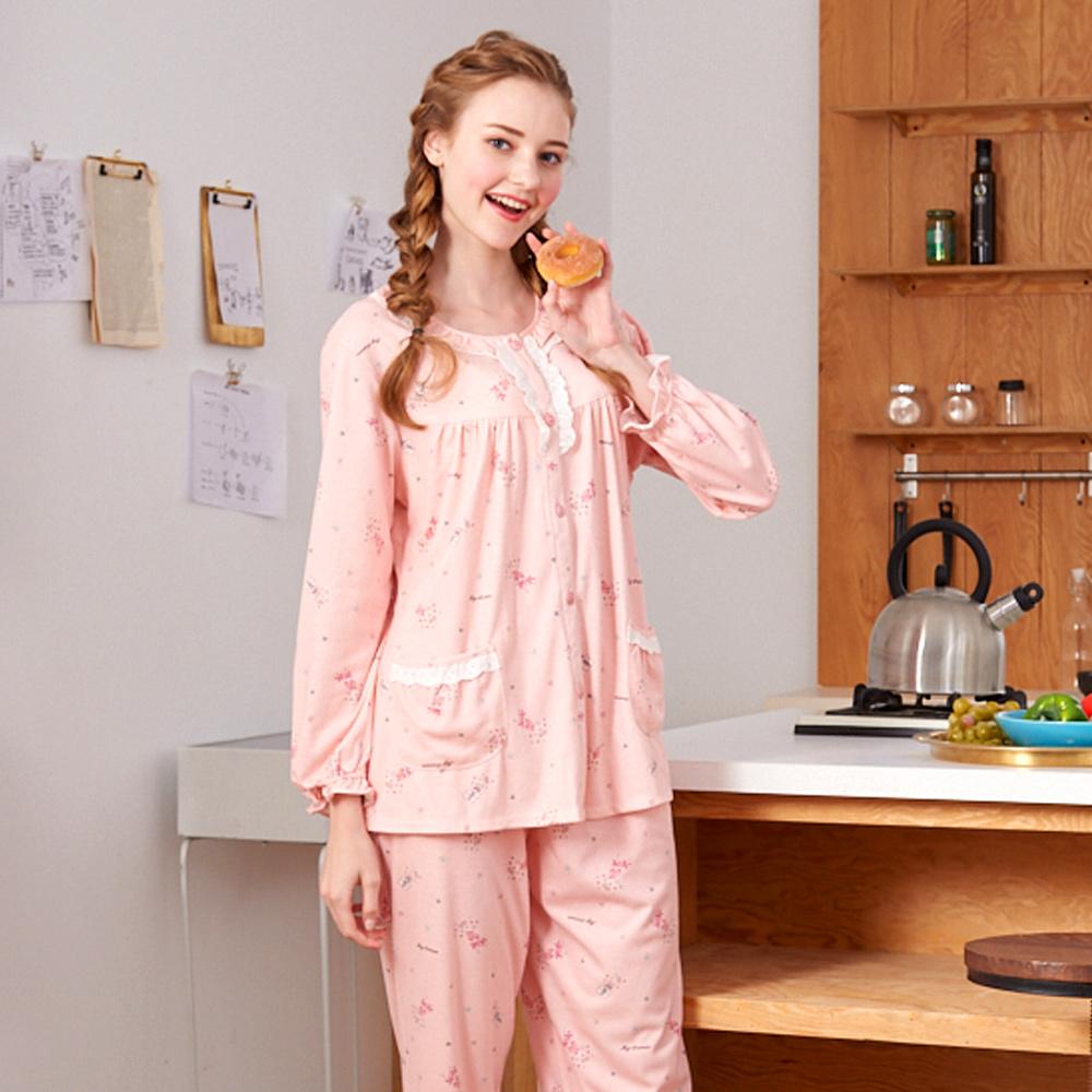 睡衣 繽紛派對 針織棉長袖兩件式睡衣(R77207-15粉橘) 蕾妮塔塔