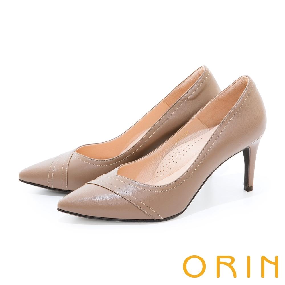 ORIN 造型剪裁真皮尖頭 女 高跟鞋 可可