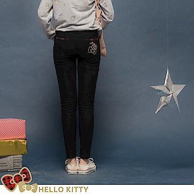 格紋KITTY~輕刷毛修身窄管褲-OB大尺碼
