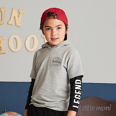 Little moni連帽假兩件印圖上衣(共2色)