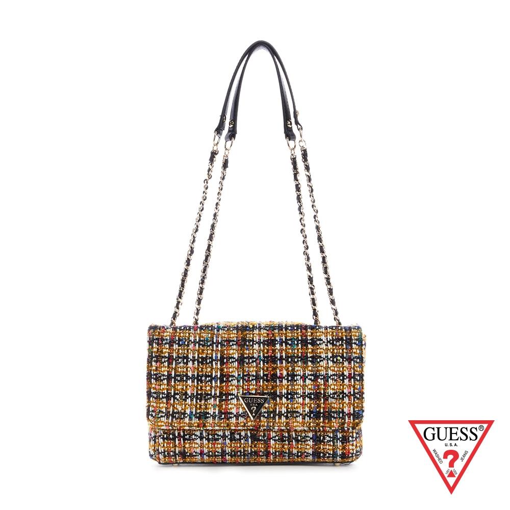 GUESS-女包-時尚毛呢編織肩背包-棕 原價3090