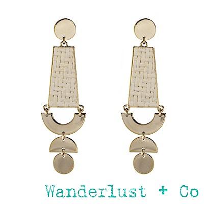 Wanderlust+CoLilia金色象牙白藤編耳環