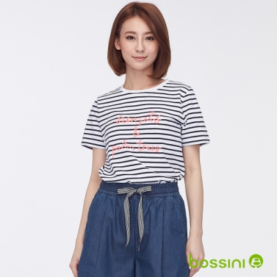 bossini女裝-圓領條紋字母繡花短袖上衣白