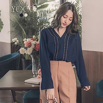 東京著衣-yoco CHIC優雅層次線條滾邊氣質上衣-S.M.L(共二色)