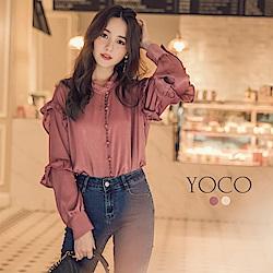 東京著衣-yoco 法式Lady小立領絲綢緞面荷葉上衣-S.M.L(共二色)