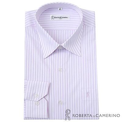 ROBERTA諾貝達 台灣製 商務型男 條紋長袖襯衫  粉紅
