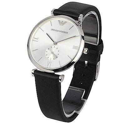 EMPORIO ARMANI 復古小三針錶盤皮革腕錶-(AR1674)-40mm