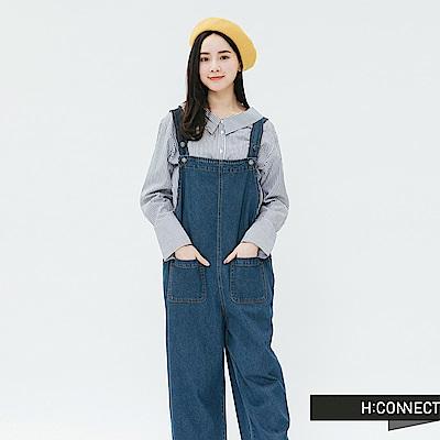 H:CONNECT韓國品牌女裝-俏皮雙口袋牛仔連身褲-藍
