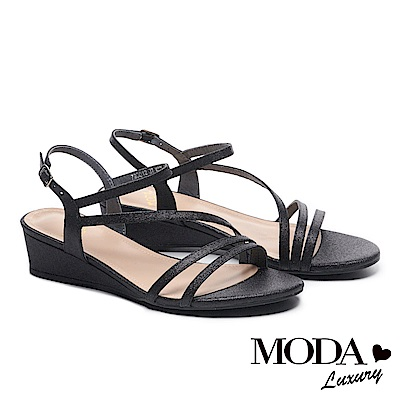 涼鞋 MODA Luxury 輕奢別緻金蔥繫帶高跟楔型涼鞋-黑