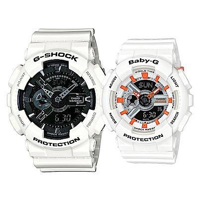 CASIO多層次機械感百搭休閒情侶錶(GA-110GW-7+BA-110PP-7A2)