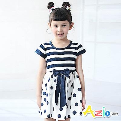 Azio Kids 洋裝 蝴蝶結條紋拼接點點短袖洋裝(白)