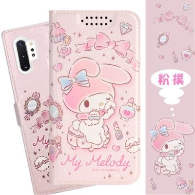 【美樂蒂】Samsung Galaxy Note10+ (6.8吋) 甜心系列可站立皮套(粉撲款)