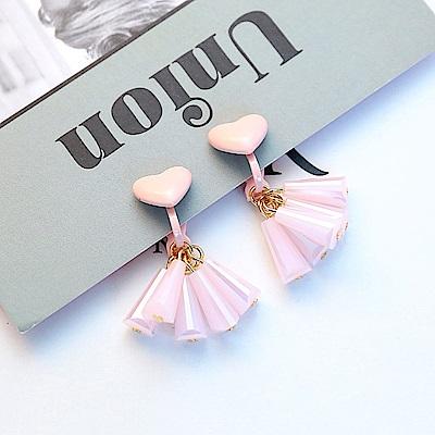 梨花HaNA 無耳洞韓國甜蜜愛心粉紅泡泡耳環夾式