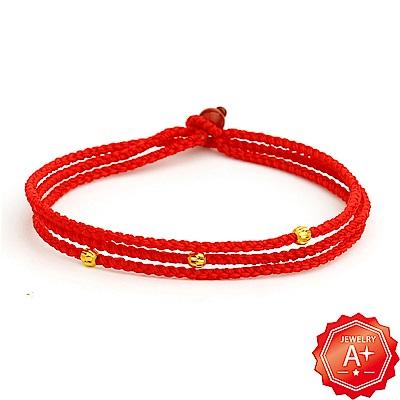 A+ 三生繩 千足黃金轉運珠紅繩手鍊