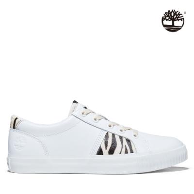 Timberland 女款白色全粒面斑馬紋休閒鞋|A2GVU