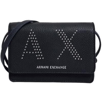 A|X Armani Exchange 品牌字母AX 圖騰鉚釘手拿/斜背包(黑)