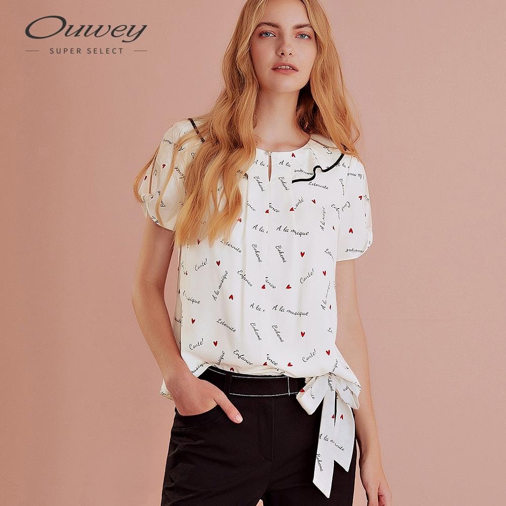 OUWEY歐薇 愛心字母印花雪紡上衣(白)