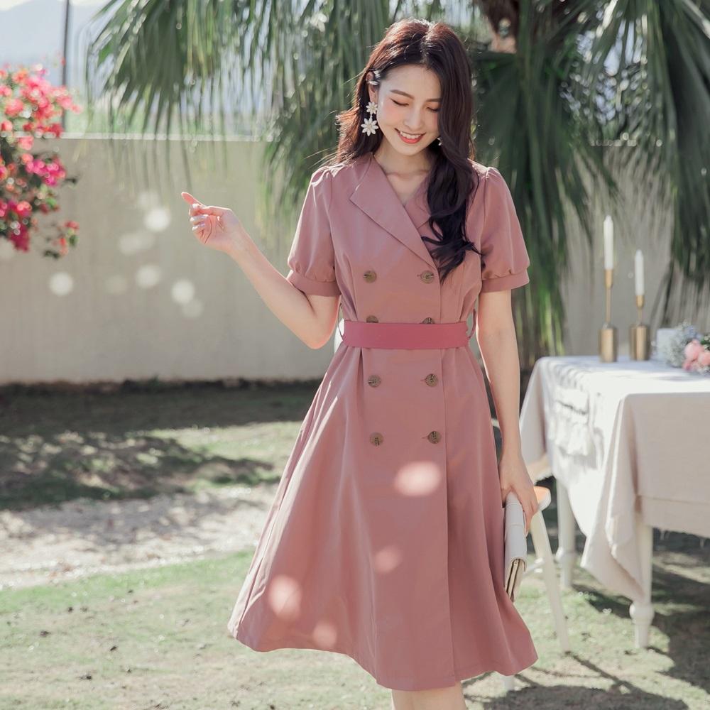 翻領排釦公主袖風衣外套/洋裝-OB大尺碼 product image 1