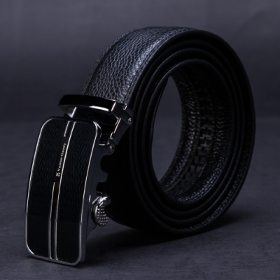 Vaston Gaudy 威仕登.高迪-頭層牛皮 黑條纖鉻底 自動扣皮帶V37G310