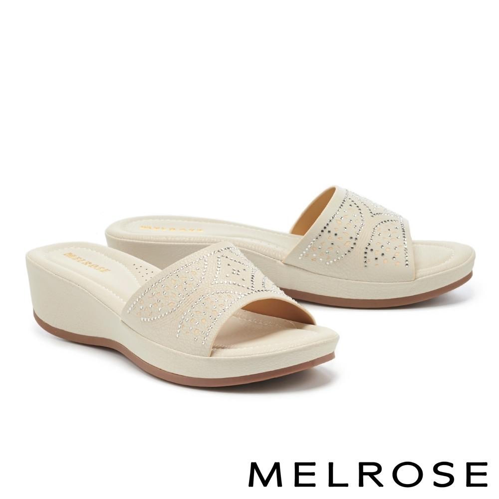 拖鞋 MELROSE 氣質清新閃耀水鑽一字楔型高跟拖鞋-灰