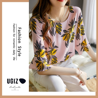 UGIZ-修身氣質甜美溫柔植物圖案圓領造型上衣-粉色(M-XL)