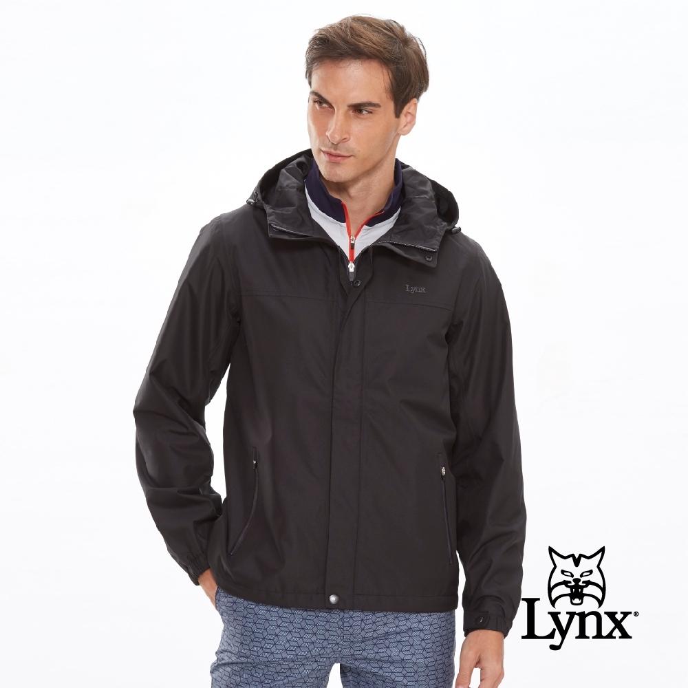 【Lynx Golf】男款防風防水素面連帽長袖薄外套-黑色