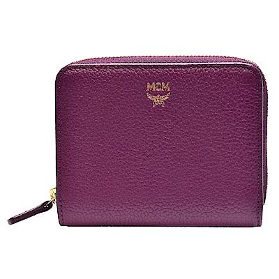 MCM Milla系列經典品牌LOGO烙印小牛皮飾邊拉鍊短夾(紫)
