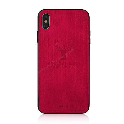 VXTRA iPhone Xs / X 5.8吋 北歐鹿紋防滑手機殼(蜜蘋果紅)