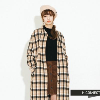 H:CONNECT 韓國品牌 女裝-格紋毛呢襯衫洋裝-黑
