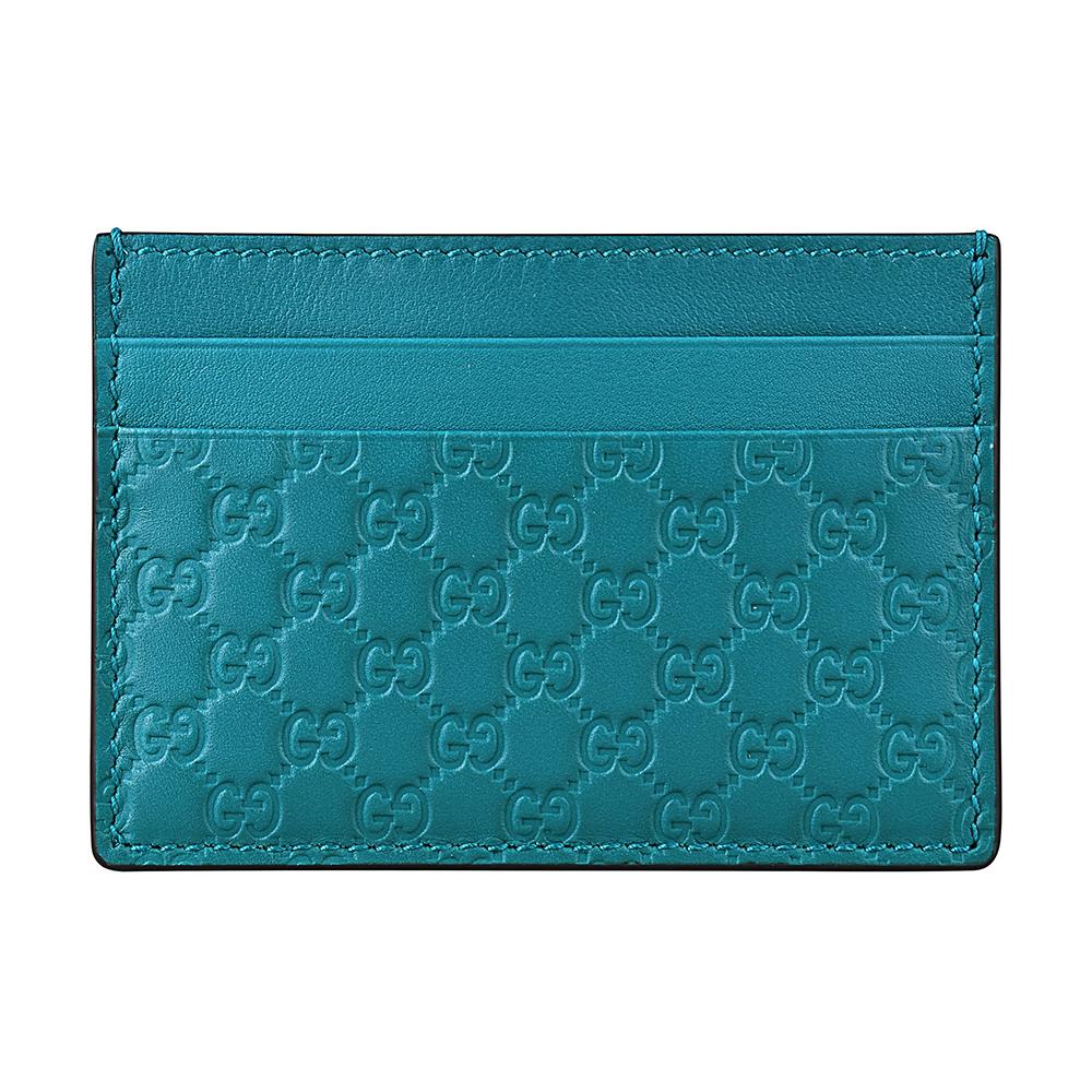 GUCCI經典Guccissima系列MINI雙G壓紋LOGO牛皮卡片夾(土耳其綠)GUCCI