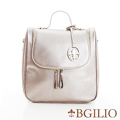 義大利BGilio-NAPPA軟牛皮知性學院風後背包-香檳色1942.005A-16