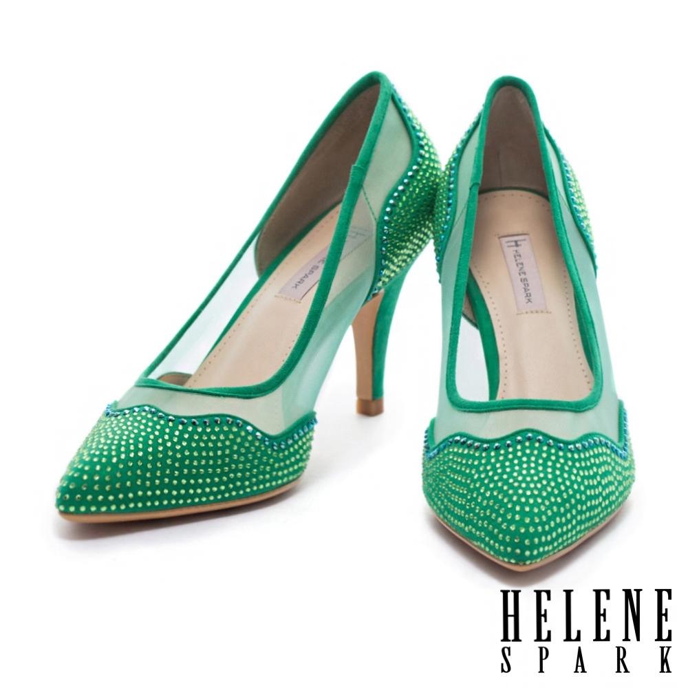 高跟鞋 HELENE SPARK 華麗時尚幻彩晶鑽異材質拼接尖頭高跟鞋-綠