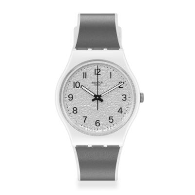 Swatch 原創系列手錶 ICY GUM 清透銀-34mm