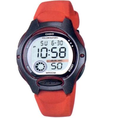CASIO 超時空玩家電子運動錶-紅帶x黑框(LW-200-4A)/37.9mm